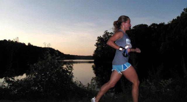 Alison running at Burke Lake