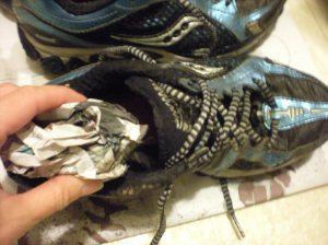 Shoes stuffed with newspaper