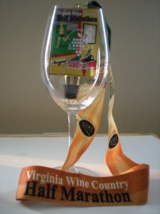 Half Marathon wine glass and medal